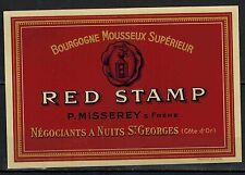 Etiquette de Vin Mousseux-Chromo- Bourgogne-Red Stamp-P.Misserey-Réf.n°178