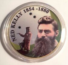 """NED KELLY"" Colour Printed 999 24k Gold plated coin, 1854-1880 (15)"