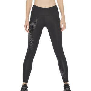 2XU Womens Mid-Rise Compression Tights Bottoms Pants Trousers Black Sports