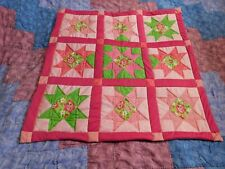 Handmade Strawberry Shortcake flower blanket, pink, girl throw, Small lap quilt