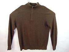 Banana Republic Mens Large Heavy Pullover Shirt Zip Up Long Sleeve Brown Sweater
