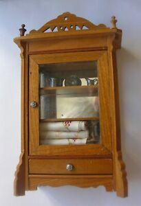 Antiique German Schneegas Golden Oak  Dollhouse Cupboard, All Original Condition