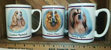 Portraits by R Maystead ~ Papel Freelance ~ Cocker, Chow, Lhasa Apso Lot 3 Mugs