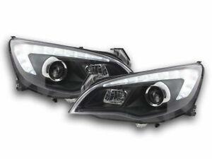 OPEL ASTRA J 5 DOOR BLACK HEADLIGHTS HEADLAMPS WITH DRL 2009-2012 MODEL