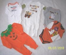 ADORABLE 5-Pc HALLOWEEN & APPLIQUED TURKEY THANKSGIVING OUTFITS LOT Boy 9 M