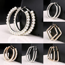 Big Pearl Hoop Earring Women Lady Jewelry Statement Circle Bijou Silver Gold New