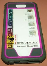 Body Glove Shocksuit for iPhone 5/5s/SE, Gray/Burgundy w screen protector, NEW
