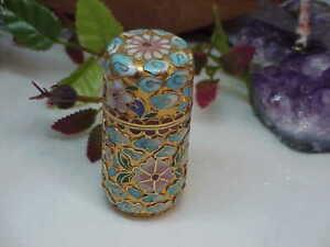 Vtg Chinese Champleve Toothpick Match Stick Holder Needle case Gilt Brass Floral