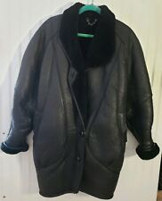 Vtg Hip Hop Giel New York Fashions Black Leather Shearling Lined Coat Mens Small