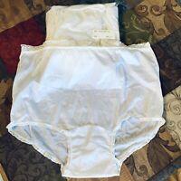 Vintage Granny Panties Nylon Underwear White Lace Trim Lot of 6 Womens Sz 8 New