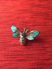 Vintage Silver Tone Teal Enamel Pink Rhinestone Marcasite Bee Brooch Pin