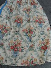 Pair Vtg Custom Curtains Drapes 2 Panels Floral Roses Bouquet Urns Birds Shabby