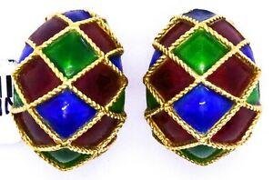 MAUBOUSSIN 18 KT GOLD ARLLEQUIN RED BLUE GREEN ENAMEL PAIR OF EAR CLIPS EARRINGS