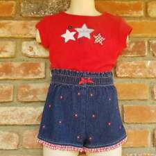 Vtg Red Usa 4th of July Star Gingham Blue Denim Shorts Top Outfit Set 24M 2 2T