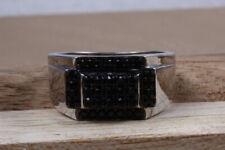 0.04 Ct Black Round Stone Studded Ring 925 Sterling Silver Ring Men's Biker Ring