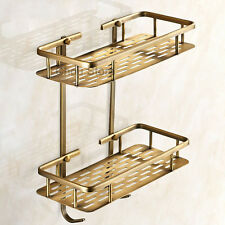Antique Brass 2 Tier Corner Shelf Shower Caddy Storage Basket Bathroom Shelves