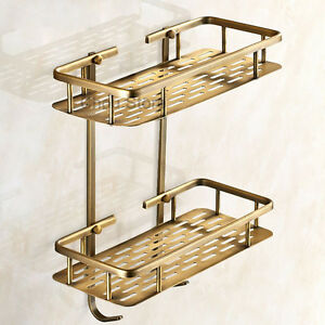 Antique Brass 2 Tier Corner Shelf Shower Caddy Storage Basket Bathroom Shelves
