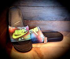Nike Benassi Sliders/Custom Painted/Slides/Flip Flops/Beach Sandals/Max/Blue