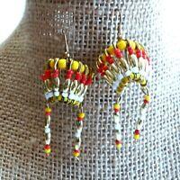 Beaded Headdress Earrings Red Gold Yellow X32