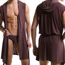 Fashion Mens Super Thin Hooded Hooded Bath Robe Casual Loungewear Nightwear