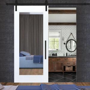 Mirror Sliding Barn Door with Mirror Glass Panel + Hardware