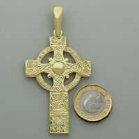 9ct Yellow Gold Ornate Large Celtic Cross Pendant RRP £960 {BP14} UK Hallmark