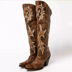 Womens Fashion PU Leather Embroidered High Heel Over Knee Cowboy Boots Shoes YBW