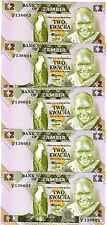 LOT Zambia, 5 x 2 Kwacha, ND (1980-1988), Pick 24 (24c), Sign. 7 UNC