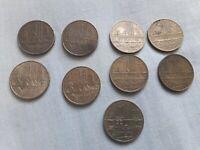 Lot de 9 pieces de 10 francs annees 1975, 1976, 1977, 1978,1980