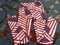 """Lularoe Tween Leggings Flags Inseam 24"""" Pants USA Red White Blue Girl Patriotic"""