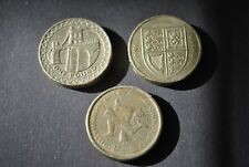 Set of 3 Pound coins from UK, Bridge, Shield, IOM legs