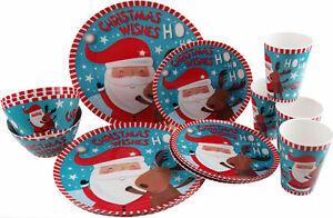 Christmas Santa Reindeer 16 Piece Melamine Plastic Plate Cup Bowl Dinner Set