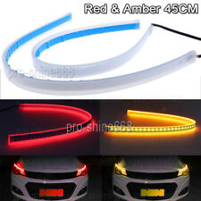 2x 45cm LED Switchback Car Headlight Sequential DRL Light Strip Tube Red & Amber