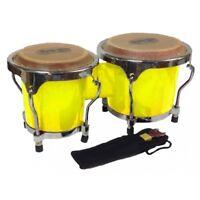 Mano Percussion 4-5 Inch MP560 Yellow Mini Bongo Drums Pair Natural Skins Bongos