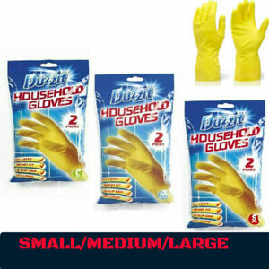 Washing Up Household Rubber Glove 2 Pair Dish Wash Gloves Small Medium Large