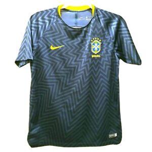 Nike Brazil World Cup 2018 Elite Soccer Training Jersey Navy Blue Yellow Yth L