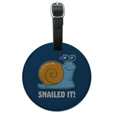 Snailed It Snail Nailed Funny Humor Round Leather Luggage Card Carry-On ID Tag