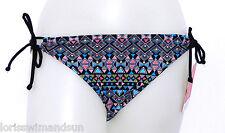 Hula Honey Junior Medium Black Geometric Bikini Swimsuit Bottoms M NWT