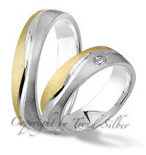 2 Ringe Verlobungsringe GOLD PLATIERT Silber 925 J124-1