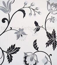 Blumen - Schwarz, Weiß, Grau, Silber - Rasch 882407 -  NEU