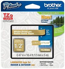 "Genuine Brother P-Touch TZeMQ835 1/2"" White on Satin Gold Tape TZMQ835"