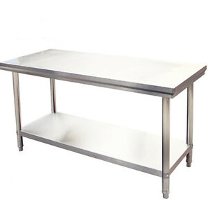 Commercial Stainless Steel Kitchen Work Bench Catering Table Shelf Backsplash