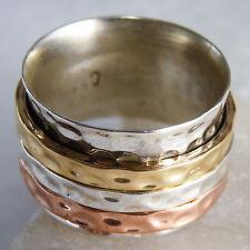 Wide Hammered 3Spin Spinner Us 7.75 SilverSari Ring Solid 925 Stg Silver Spr1078