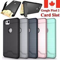 For Google Pixel 2 & 2 XL Case Shockproof KickStand Card Slot Wallet Hard Cover