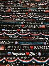 Santee Prints - Patriotic - Freedom - USA cotton Fabric on Black Background