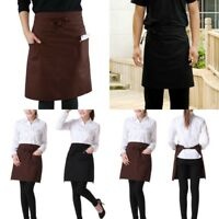 Unisex Waitress Waiter Half Short Waist Apron with Front Pocket Bow Kitchen Chef