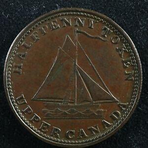 UC-9A5 Halfpenny token 1820 Upper Canada Ontario ship Breton 727
