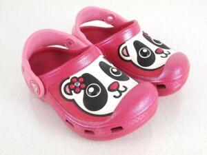 Crocs Clogs Preschool Little Kid Size 6 7 Pink 3D Panda Bear Design Shimmer