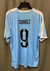 Luis Suarez #9 Signed Uruguay Soccer Jersey AUTO Sz XL BAS WITNESSED COA