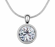 18K Gold GP SWAROVSKI Element Crystal Classic Round Pendant Necklace Silver